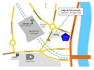 Zeichnung Treffpunkt Fahrradverleih Radstation