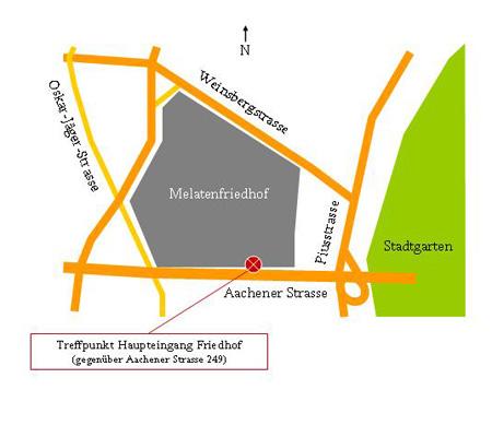 Zeichnung Treffpunkt Melaten-Friedhof